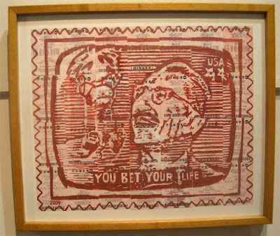 Red graphical rendering of Groucho Marx's You Bet Your Life on lottery ticket paper