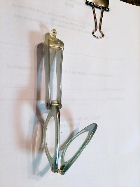 1950's aqua lucite lorgnette, folded
