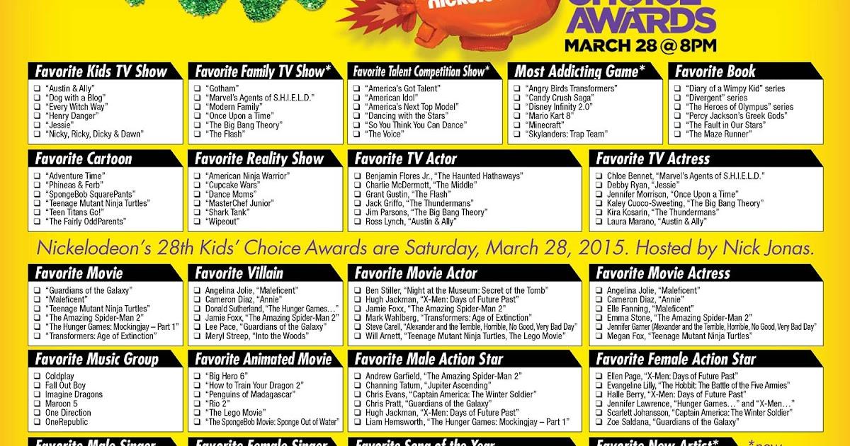 2015 Kids Choice Awards Printable Ballot The Gold