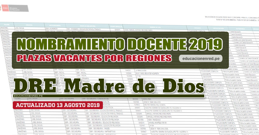 DRE Madre de Dios: Plazas Vacantes para Nombramiento Docente 2019 (.PDF ACTUALIZADO MARTES 13 AGOSTO) www.dredmdd.gob.pe