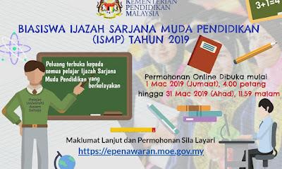 Permohonan Biasiswa Ijazah Sarjana Muda Pendidikan (ISMP) 2019 Online
