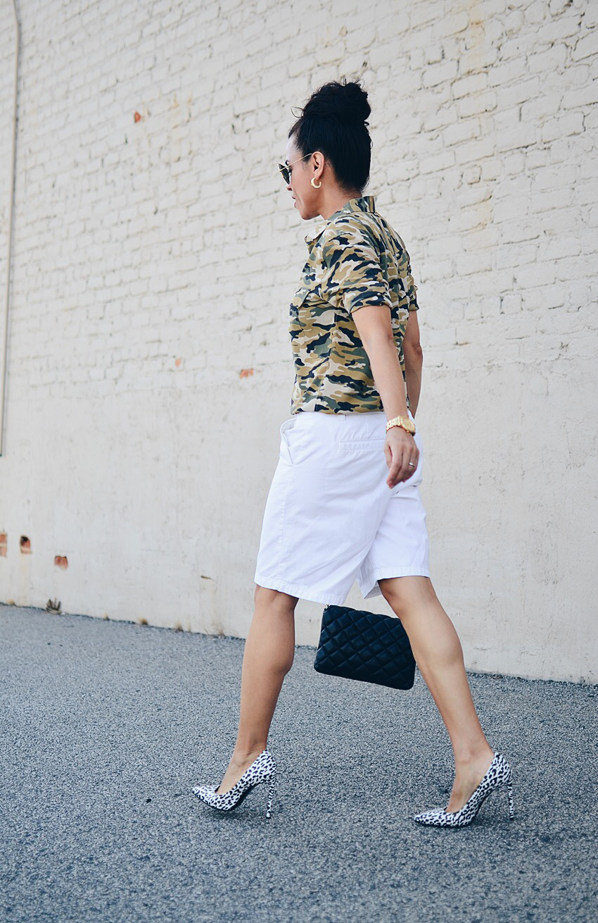 Outfit with camouflage and white