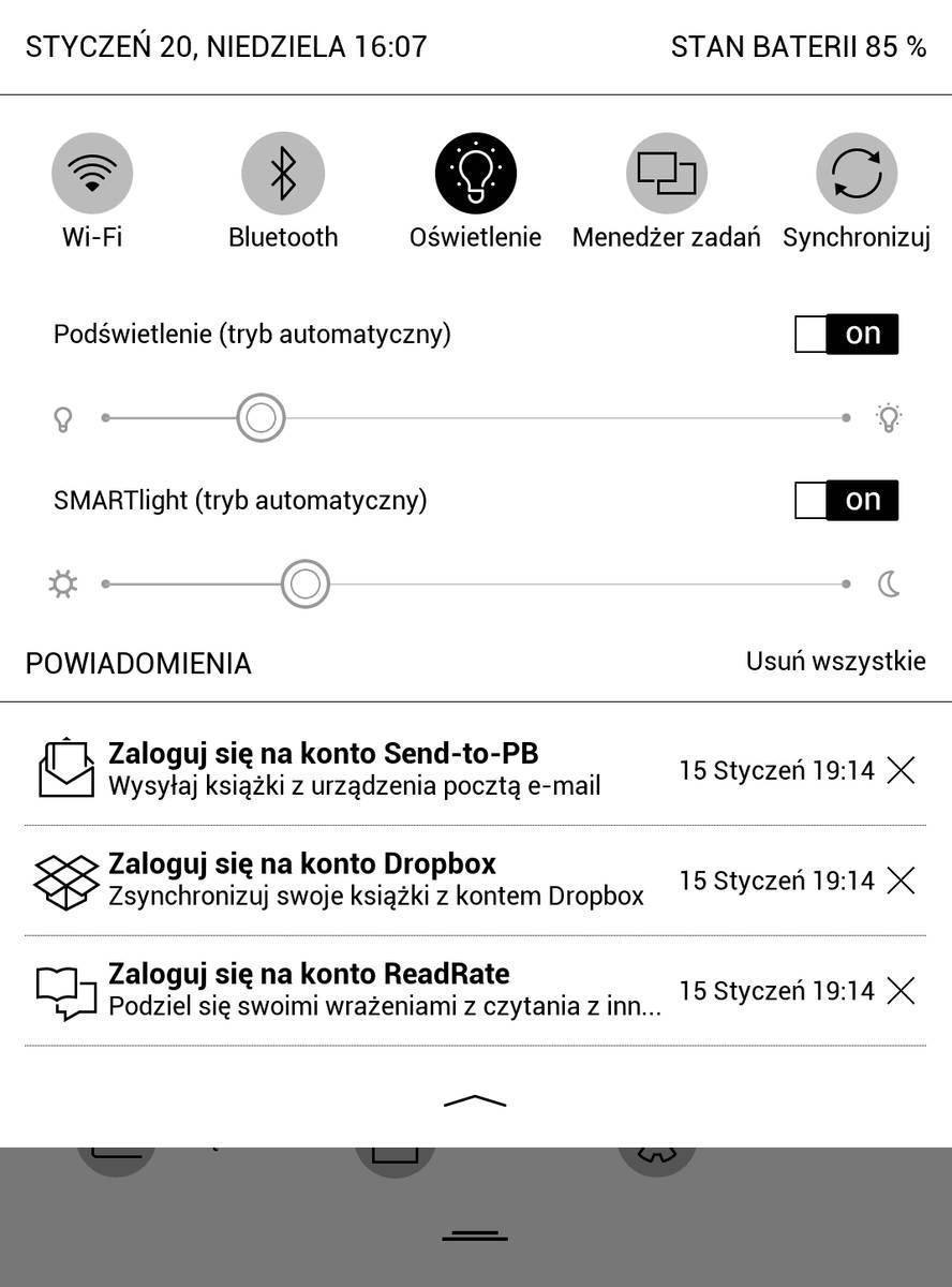 Suwak regulacji w PocketBook Touch HD 3 podświetlenia znajdziemy w górnym menu