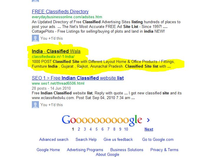 Free Classified, Free Classified List, Indian Classified Site List