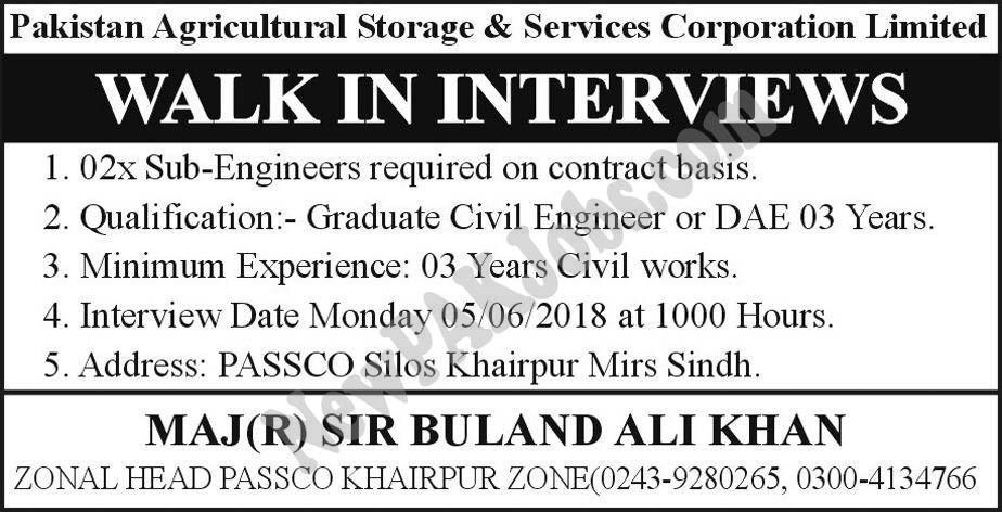 Walk in Interview in Pakistan Agriculture Storage and Serivces Corporation June 2018 Jobs