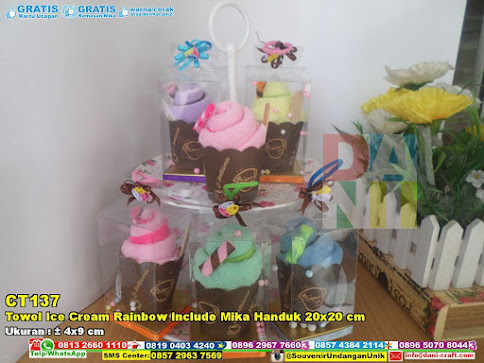 Towel Ice Cream Rainbow Include Mika Handuk 20×20 Cm