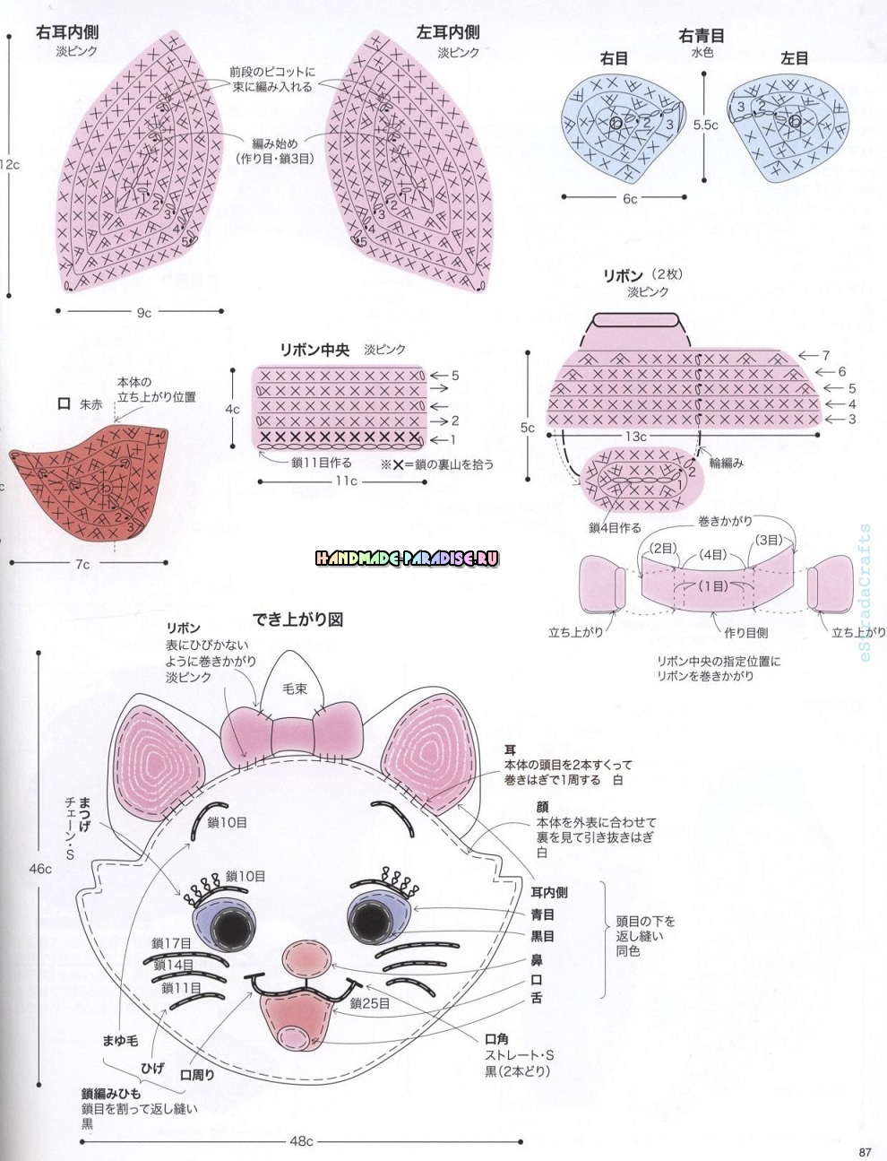 Схемы вязания сидушек в форме кошечки, олененка и слоника (2)