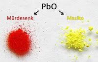 Kırmızı kurşun oksit mürdesenk ve sarı kurşun oksit masikodan oluşan renkli tozlar