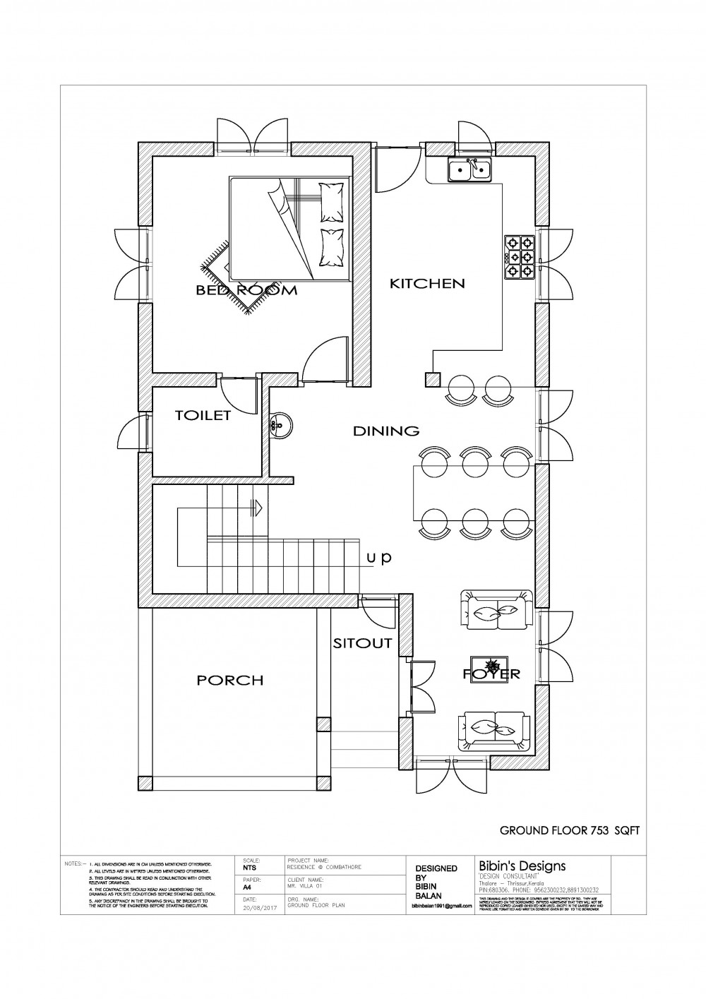Free Kerala 1131 Sq Ft 2 Bedroom Simple House Plan
