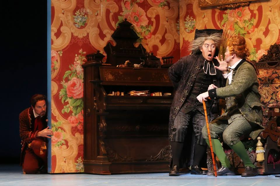 IN PERFORMANCE: (from left to right) Baritone TROY COOK as Figaro, bass ADAM LAU as Don Basilio, and bass-baritone TYLER SIMPSON as Dottor Bartolo in North Carolina Opera's production of Gioachino Rossini's IL BARBIERE DI SIVIGLIA, 1 April 2016 [Photo by Curtis Brown, © by North Carolina Opera]