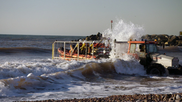 Sidmouth Lifeboat launching from the tractor - Photo copyright Butterfly Effect Films