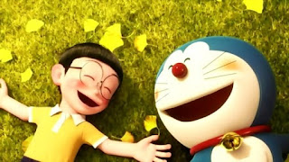 Doraemon and Nobita lying on the grass and speaking like best buddies forever