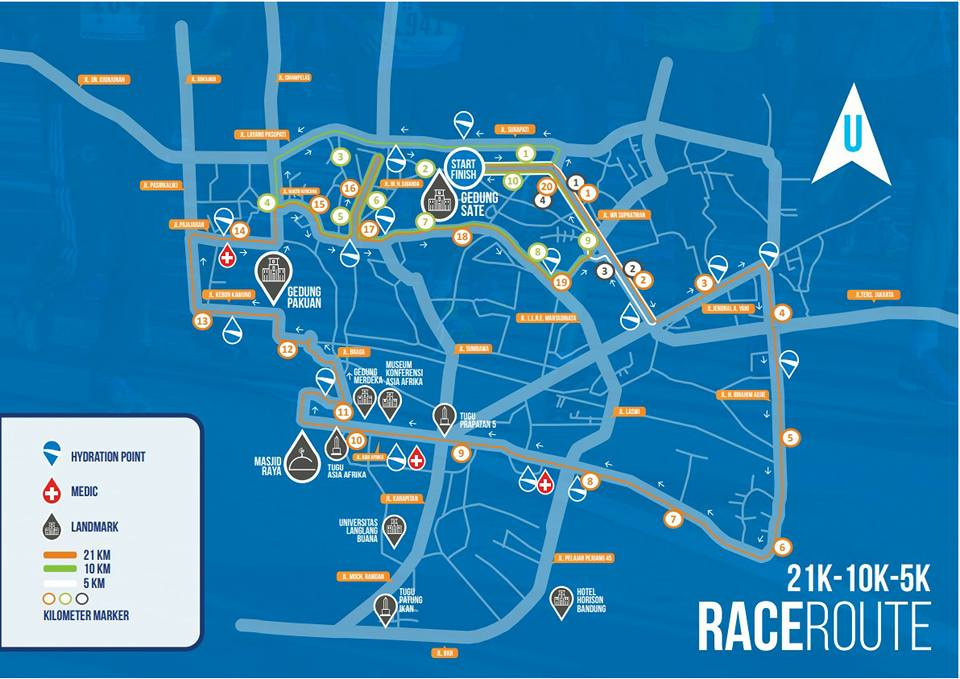 Rute Pocari Sweat Bandung West Java Marathon • 2017