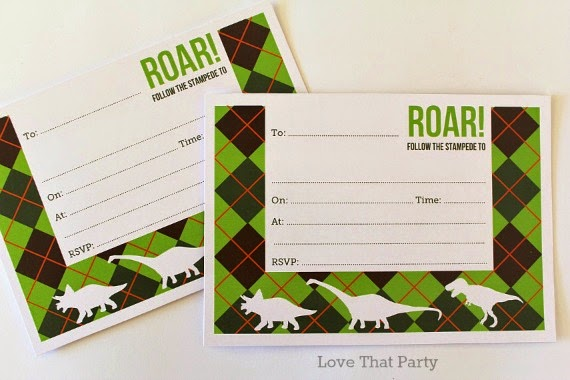 Love That Party NEW fill-in style Dinosaur Birthday Party invitations pack of 10