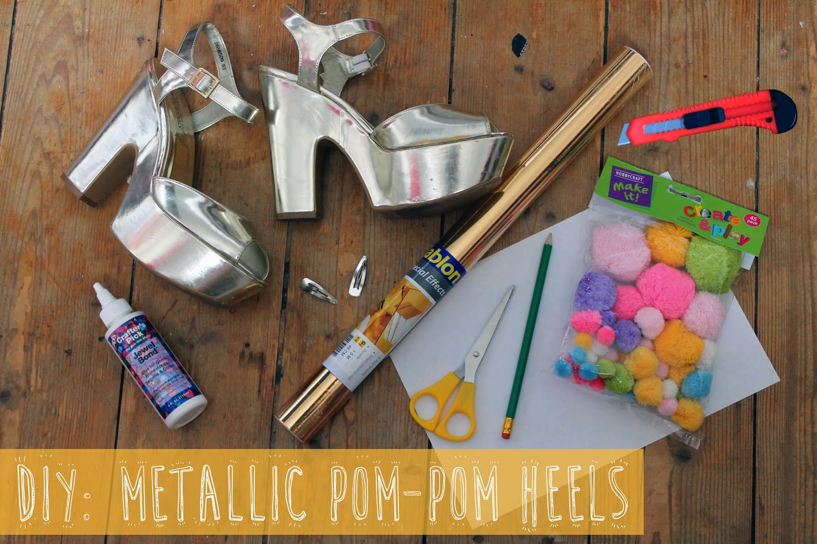 DIY metallic pom-pom heels tutorial