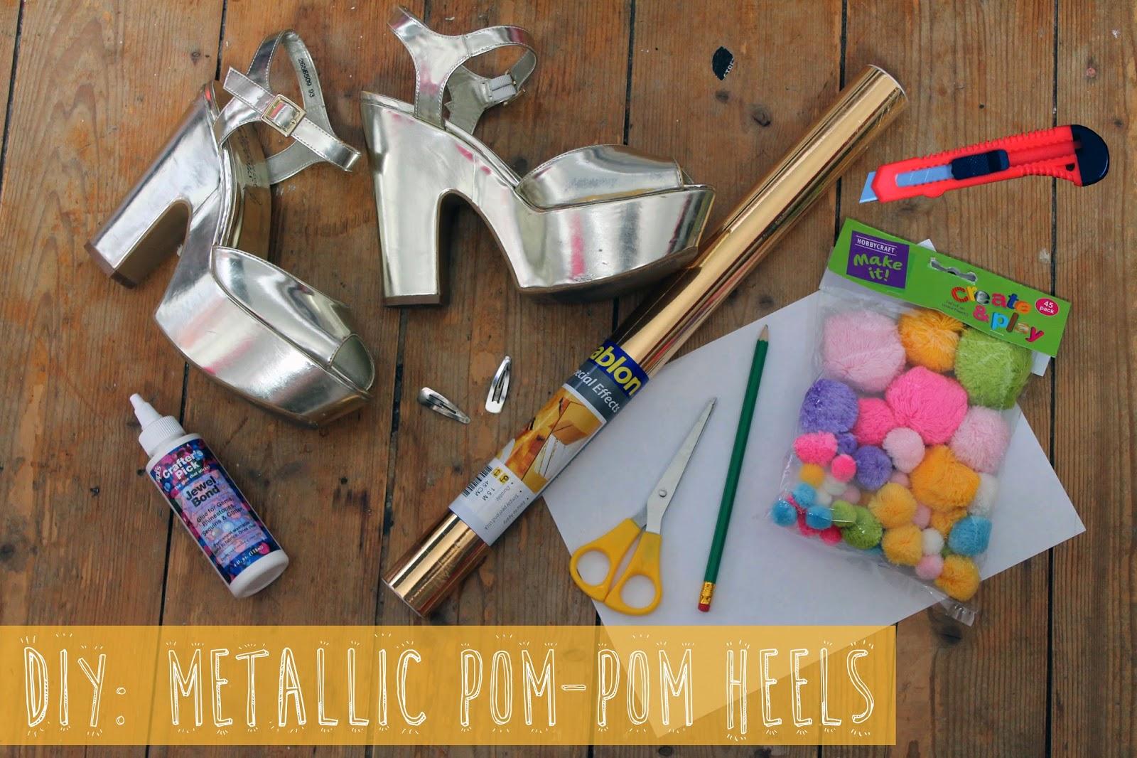 DIY metallic pom-pom heels tutorial
