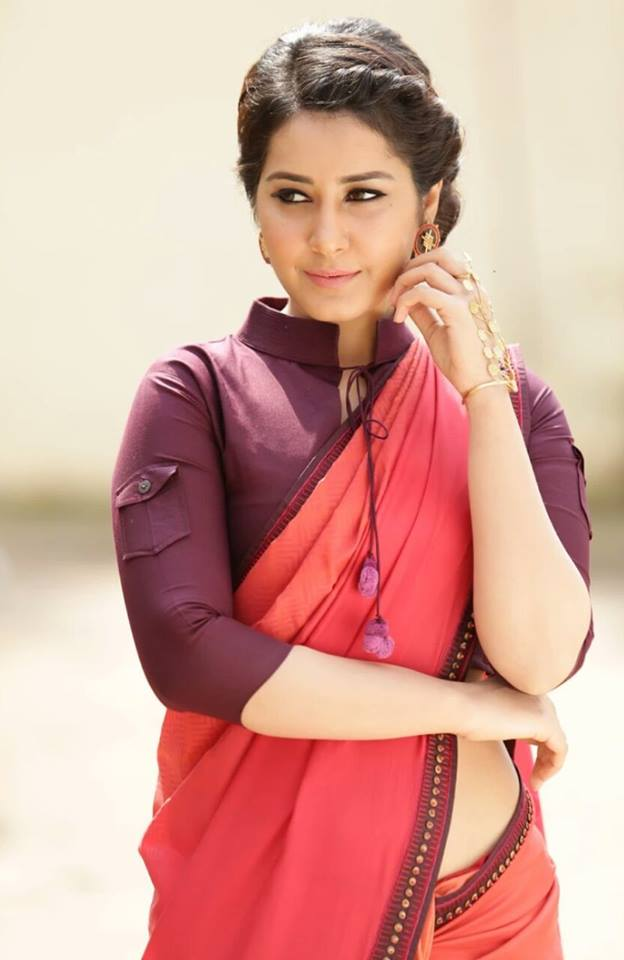 Rashi Khanna Hot Photoshoot In Red Saree