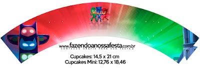 Wrappers para Cupcake de Fiesta de Super Héroes en Pijamas para Imprimir Gratis.