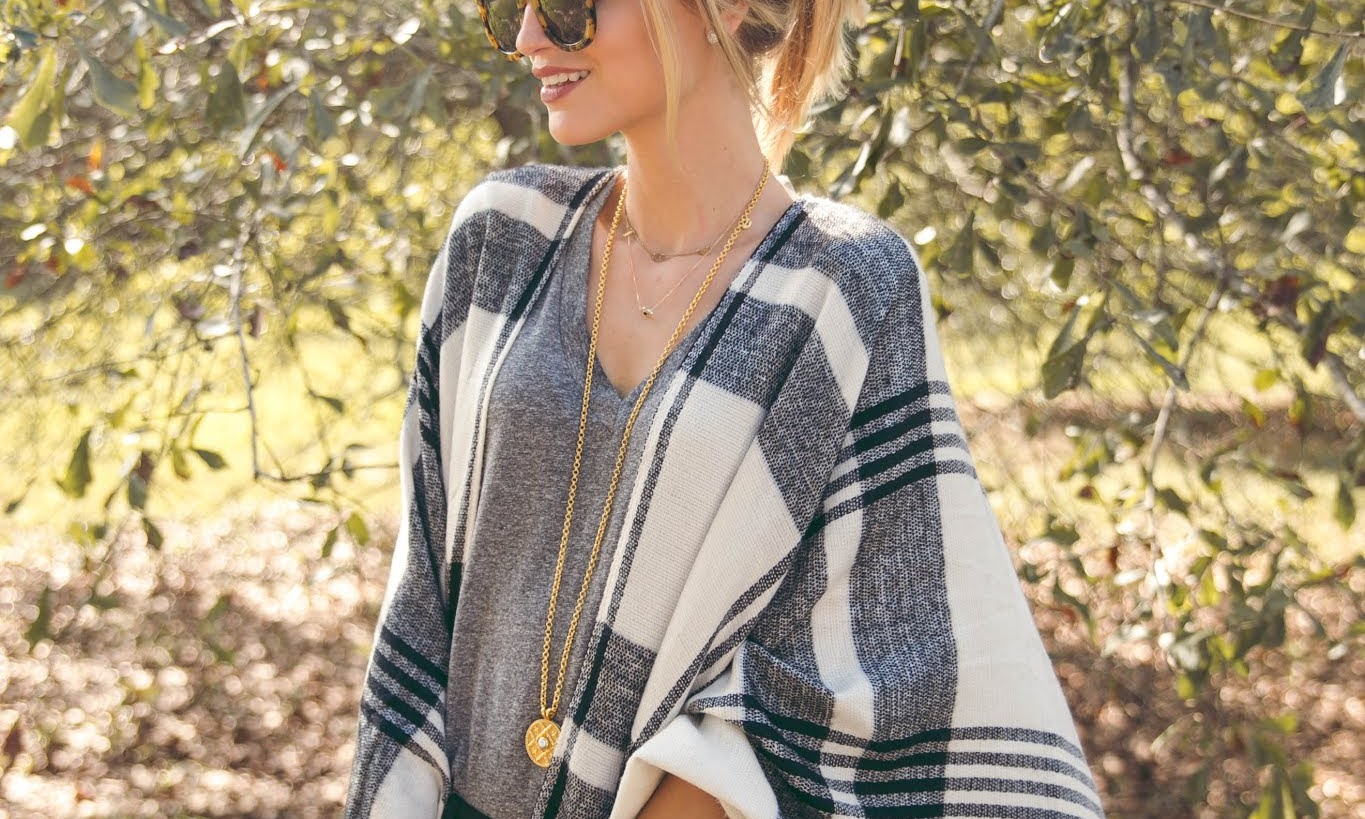 The Cutest $39 Plaid Poncho