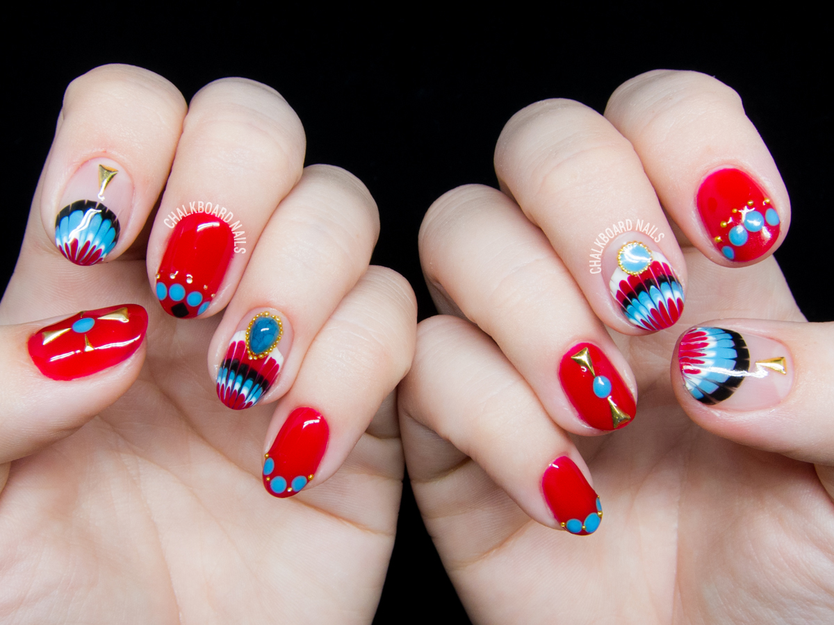 Southwest-inspired nail art by @chalkboardnails