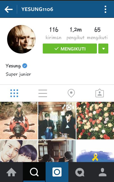 gambar nama akun account instagram yesung suju