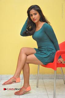 Telugu Actress Prasanthi Stills in Green Short Dress at Swachh Hyderabad Cricket Press Meet  0094.JPG