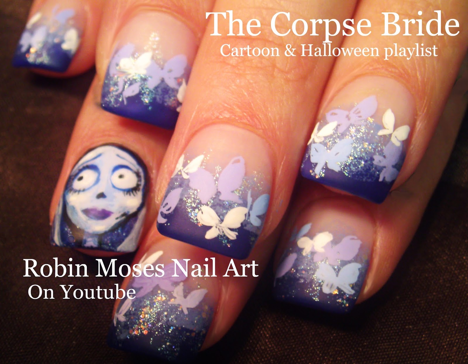 Nail Art By Robin Moses The Corpse Bride Nail Art Famous Halloween