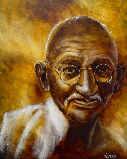 oil portrait of Mahatma Gandhi