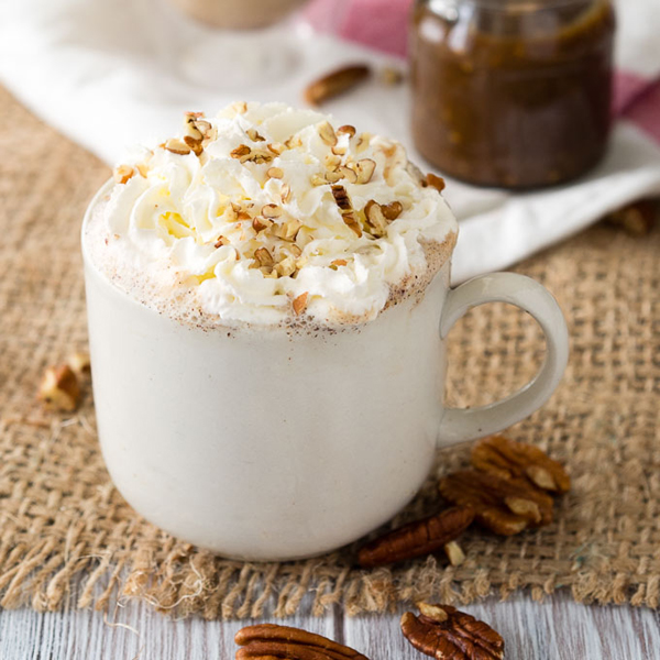 Starbucks knock off maple pecan latte recipe in a white mug