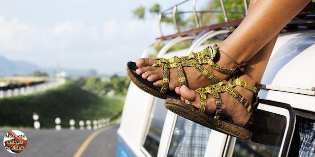 "Header image of the article: ""Benefits Of Going On A Road Trip For Self-Motivation"". Feet, road trip, van, self-motivated people"
