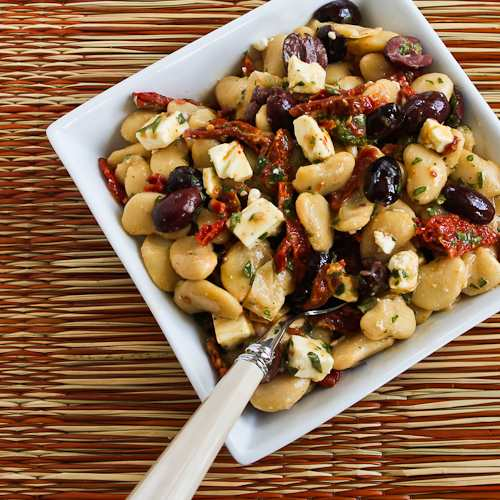 Butter Bean Salad with Sun-Dried Tomatoes, Kalamata Olives, Feta, and Basil Vinaigrette found on KalynsKitchen.com.
