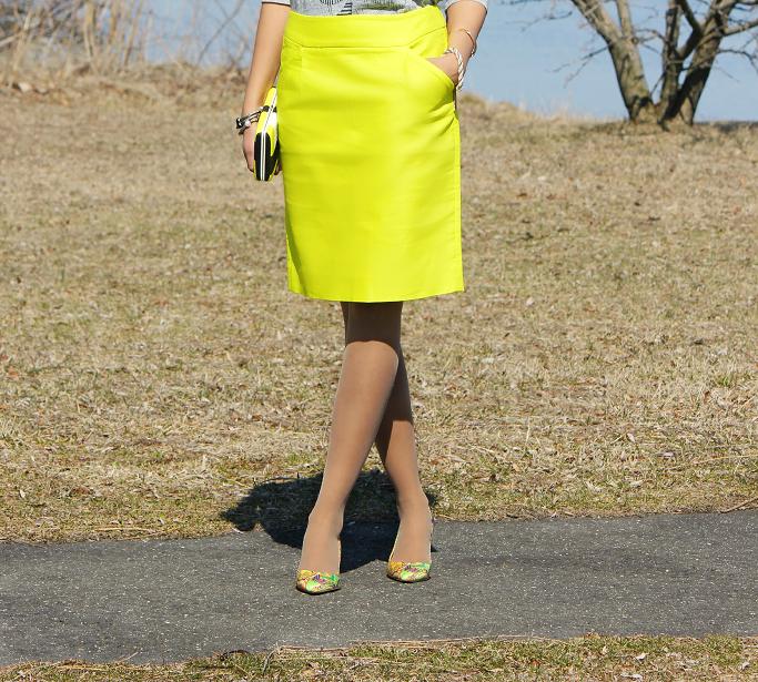 J Crew double serge cotton pencil skirt, Target Colorblock Clutch, J Crew Tee