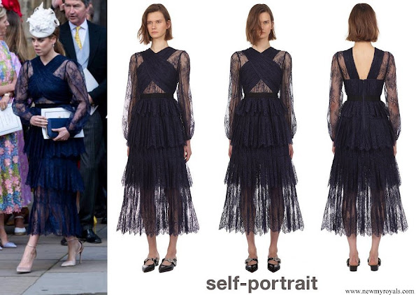 Princess Beatrice wore Self-Portrait cross front fine lace midi dress
