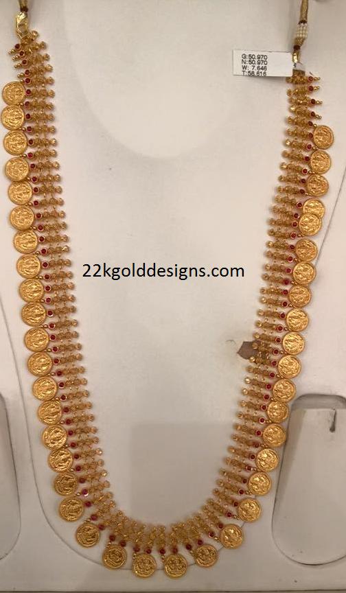 Gold Kas Long Necklace Design 22kgolddesigns