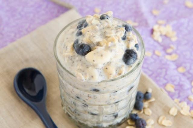 Blueberry Banana Overnight Oats #Breakfast #Healthy