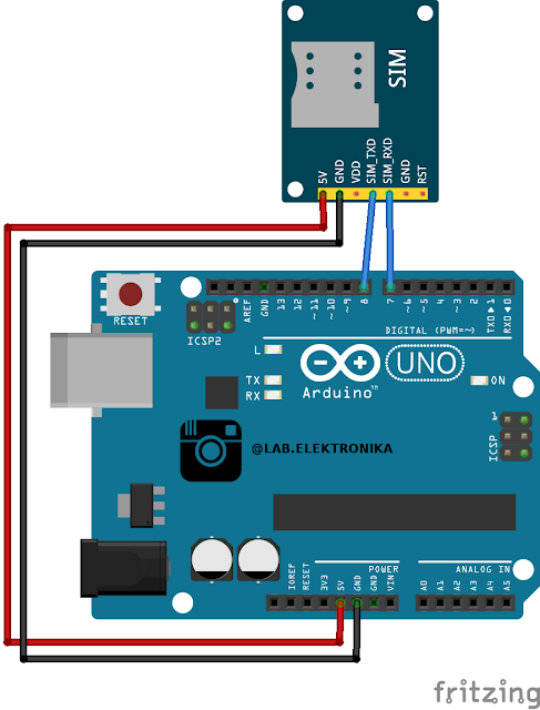 Wiring SIM800L V2  dengan Arduino