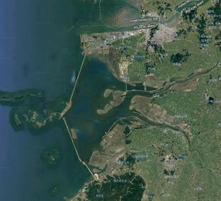Vista satelital del dique Saemangeum