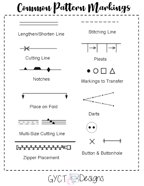 Common Sewing Pattern Markings