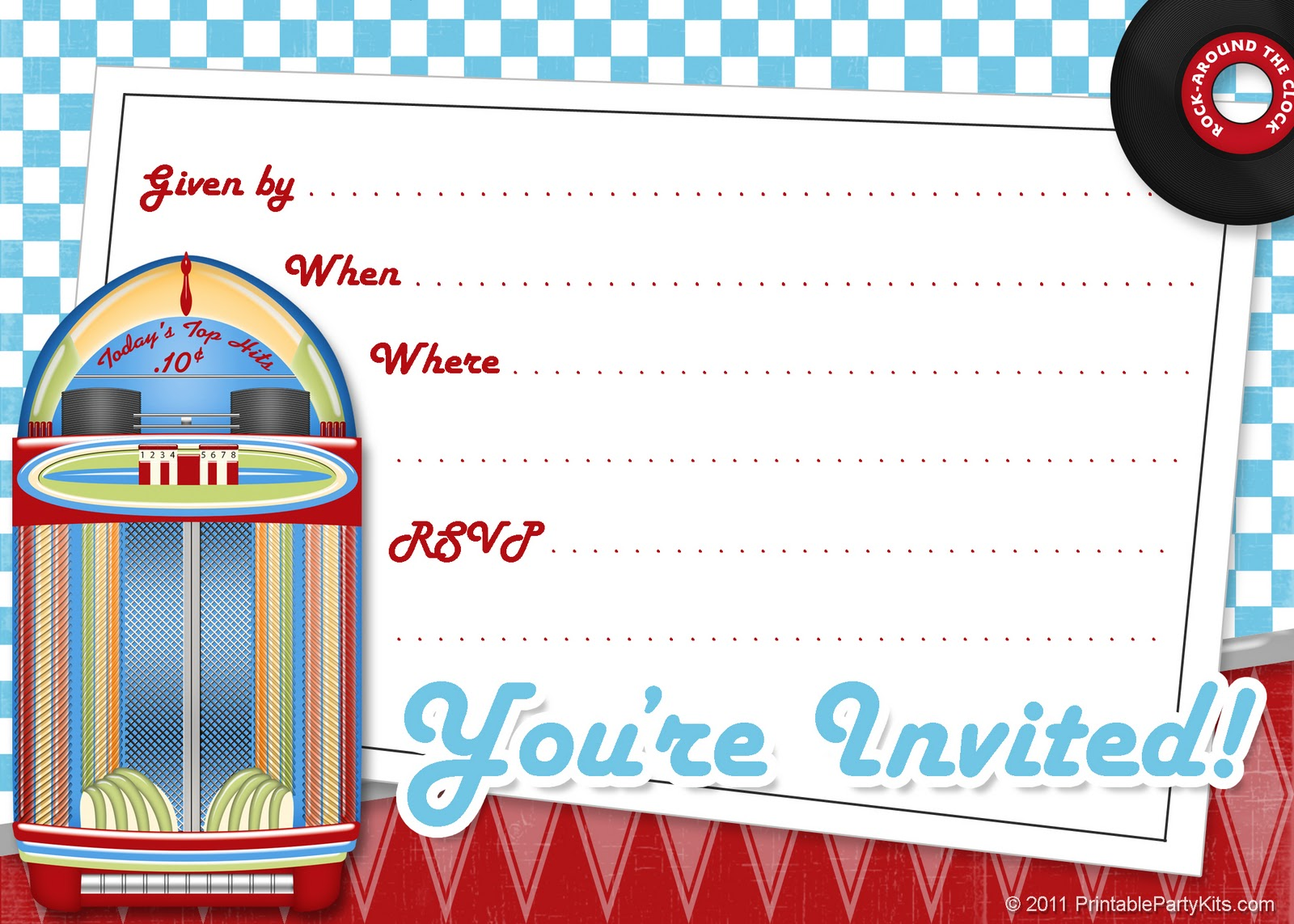 Free Printable Party Invitations: Free Invite Art for a 1950s or ...