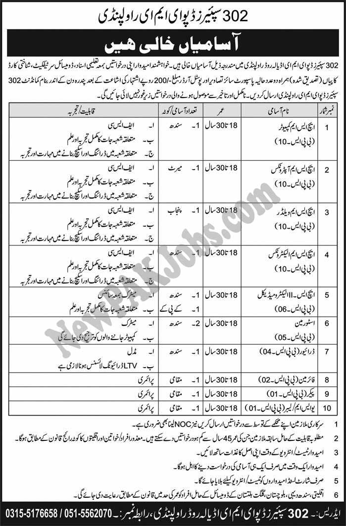 Latest Army Jobs in 302 Spares Depot EME Rawalpindi
