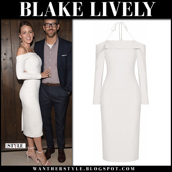 Blake Lively in white off shoulder midi dress cushnie et ochs party fashion august 7