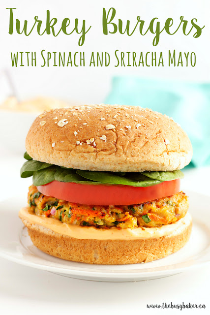 Turkey Burgers with Spinach and Sriracha Mayo www.thebusybaker.ca