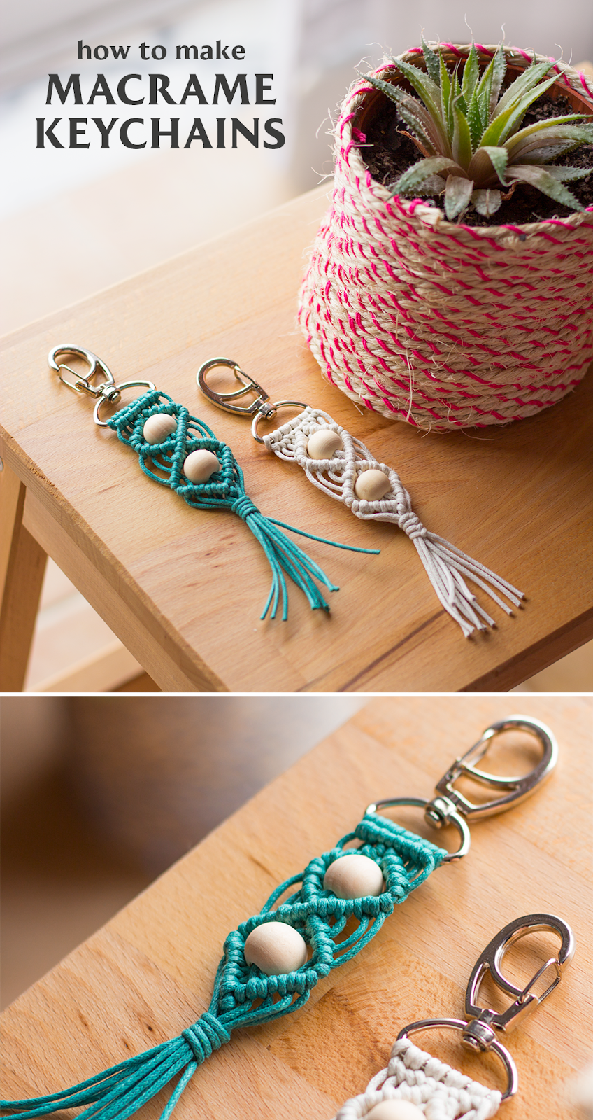 Learn how you can make these macrame keychains that are also great gifts