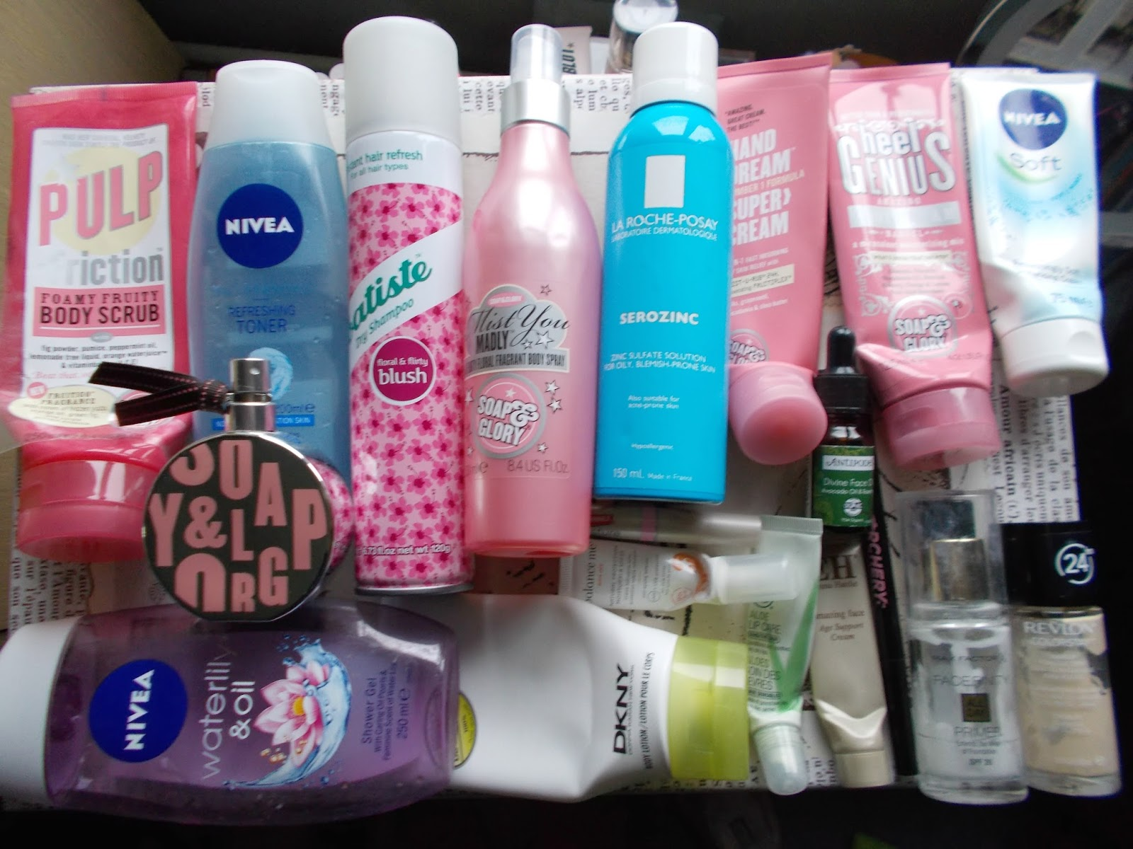 product empties skincare haircare bodycre makeup soap and glory nivea la roche posay antipodes revlon dkny batiste