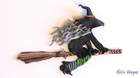 sculpey oven bake clay craft ideas for halloween flying witch hat october
