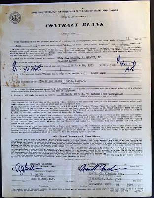 This is pretty cool. This is a contract for Twisted Sister to play the Mad Hatter rock club from June 20-24 in 1973