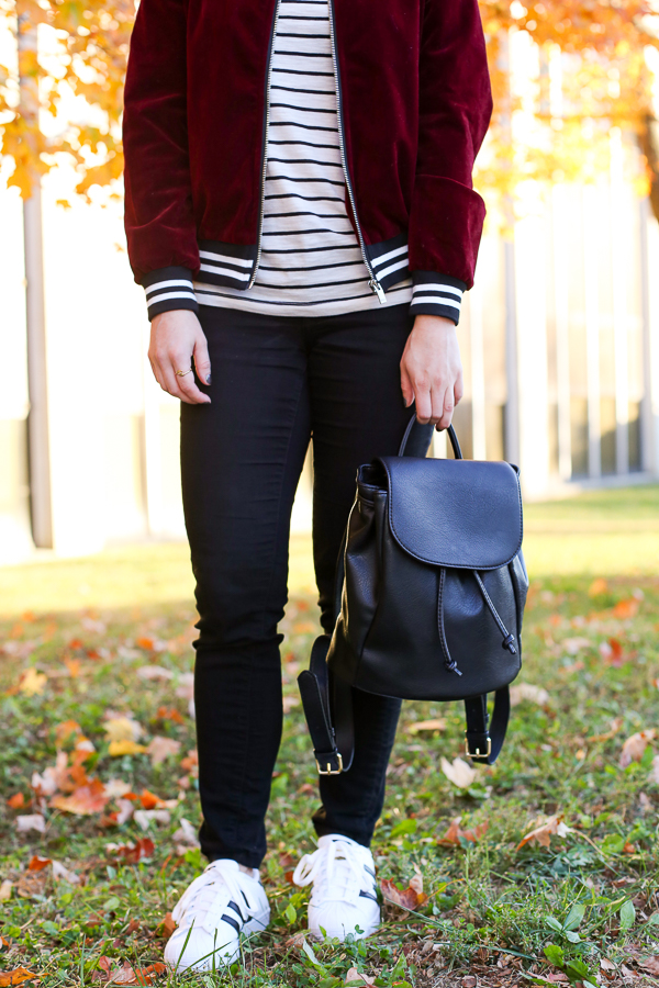 Naturally Me, Romwe Bomber Jacket, Bomber Jacket, Burgundy for Fall, Burgundy Velvet Bomber Jacket, Striped Tee, How to Wear a Bomber Jacket