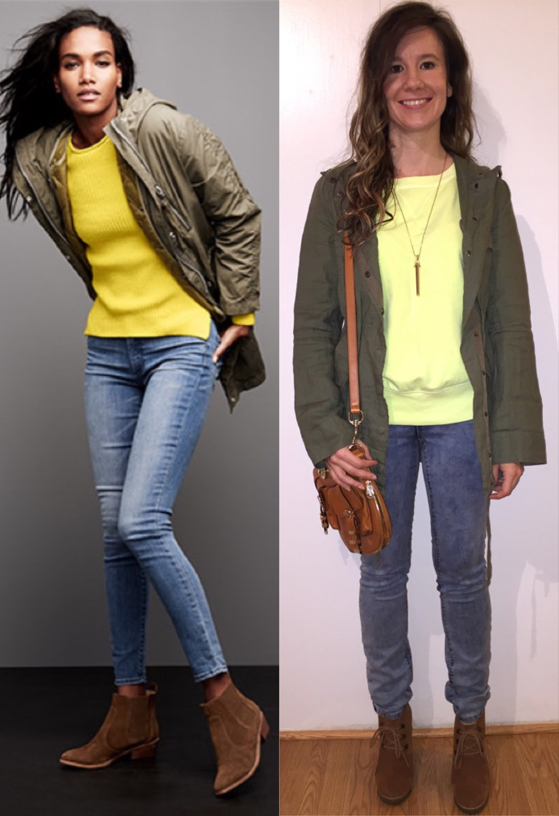 Gap Neon Yellow Sweater London Jeans Jacket Steve Madden Wedge Booties Karen Millen Bag Stella And Dot Rebel Pendant Necklace