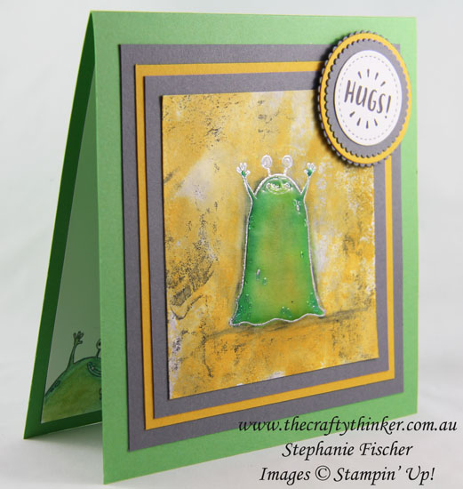 Yummy in my Tummy, Slimey Monster, water colour background, Stampin Up Australia Demonstrator, Stephanie Fischer, Sydney NSW,, #thecraftythinker, Ink Smooshing