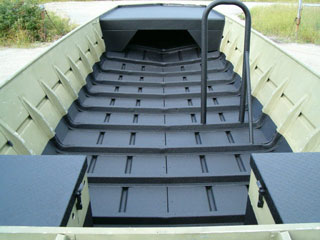 Bottom of boat painted with bedliner
